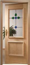 Echtholztüre mit aufgesetzten Leisten und Lichtausschnitt